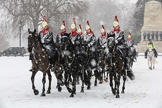 The Queen's Life Guard in the snow at Horse Guards Parade