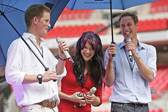 HRH prince William and prince Harry together with Joss Stone at the pre Diana Concert at the Wembley stadium in London