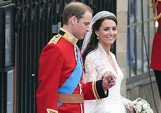 Prince William and Kate Middleton leave Westminster Abbey after their wedding ceremony. London, UK. 29 April 2011