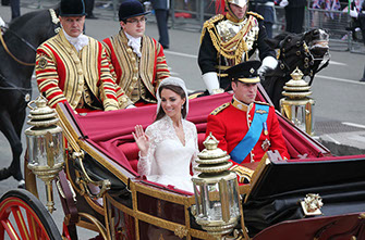 Prince William and Kate Middleton leave Westminster Abbey