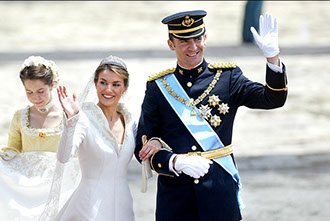 Prince Felipe of Borbon wedding with Letizia Ortiz rocasolano, at Almudena Cathedral.