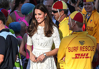 The Duke and Duchess of Cambridge meet lifeguards on Manly Beach,  Sydney , Australia